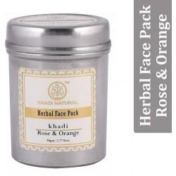 """Натуральная маска для лица """"Роза и Апельсин"""" (Herbal face pack Rose & Orange KHADI), 50 г."""