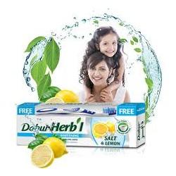 Зубная паста отбеливающая Дабур Соль и Лимон (Dabur Herb'l Salt & Lemon), 150 г. + зубная щётка