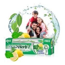 Зубная паста-гель Дабур МЯТА И ЛИМОН Dabur Herb'l Mint & Lemon, 150г – с зубной щеткой